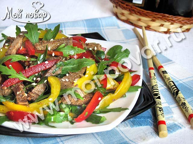 Салат с жареной свининой и кукурузой «Карлуша» | Фоторецепт с ... | 480x640