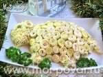 Новогодний салат с языком и яичными блинчиками «Овечка»