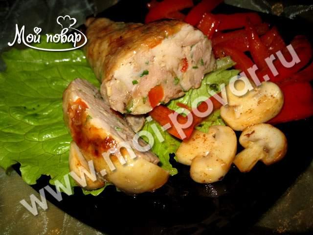 Фаршированная голень курицы в духовке