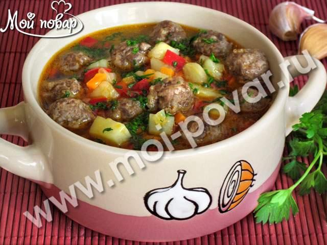 Картофельный суп с фрикадельками кулинарный рецепт  Картофельный суп с фрикадельками