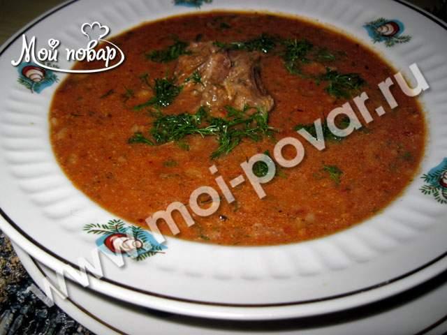 Суп харчо с ткемали и сацебели