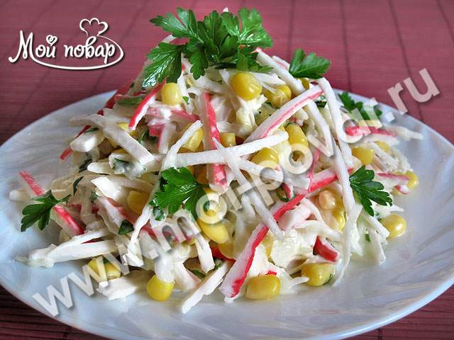 салат с крабовых палочек рецепт простой