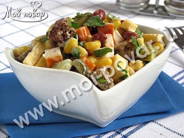 рецепт салата с фасолью и с сыром