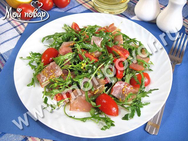 рецепт салата из говяжьего сердца ,ветчины орехами