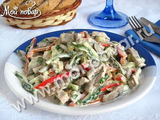 салат рецепт с фото с говядиной с грибами