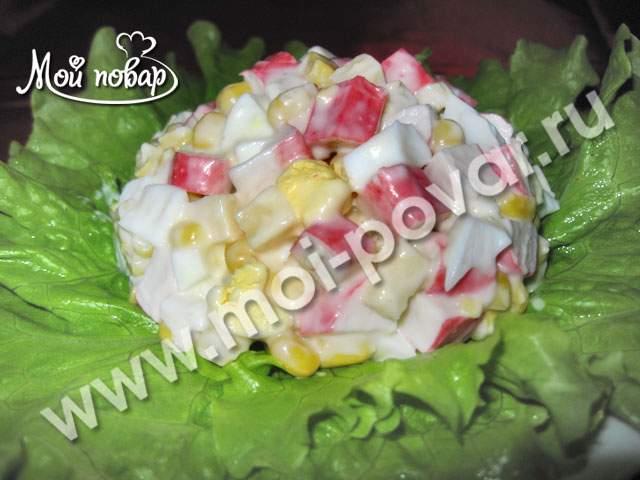 рецепт салата крабовые палочки сыр яйцо
