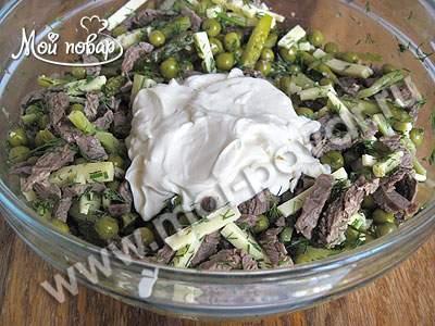 салат загадка с говядиной и солеными огурцами и с сыром чесноком
